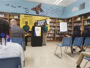Mann students speak during the Expect Respect kick-off press conference