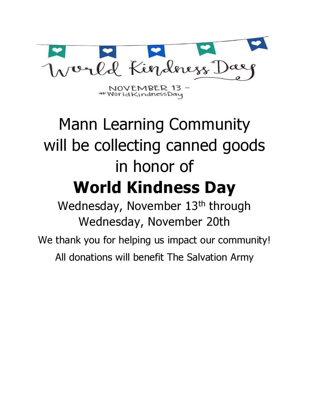Mann Honors World Kindness Day