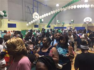 Mann families gather in the gym during open house