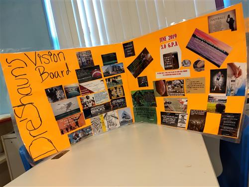 orange poster board with pictures