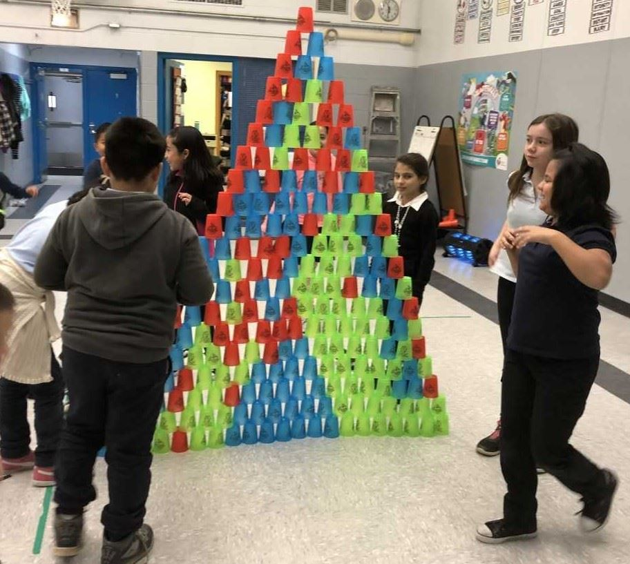 Students worked in teams to stack cups soooo high!