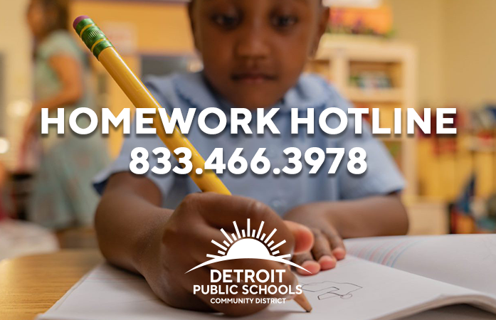 Homework hotline number shown 866-466-3978 with a student writing in a journal in the background