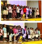 kindergarteners sing on stage during promotion