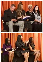 fifth grade teachers sit on stage during promotion ceremony