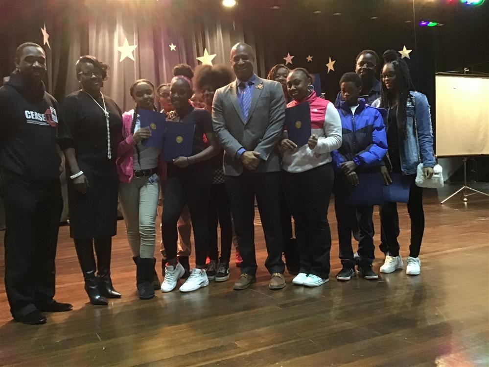 Student Council members  sworn in by Detroit City  Council member, Scott  Benson