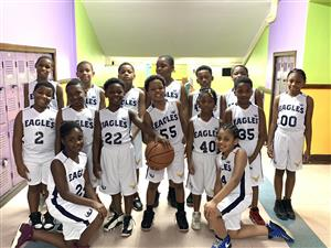 Basketball team in uniform.