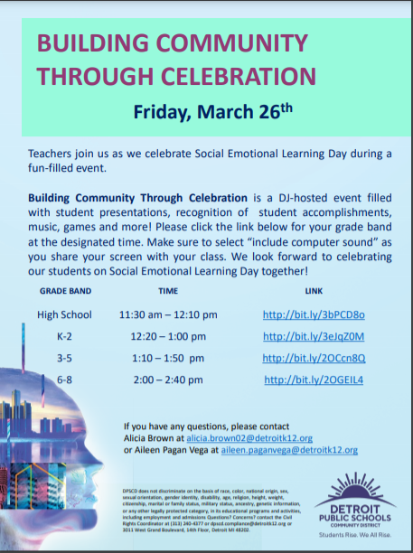 Flyer with links celebrating Social Emotional Learning Day