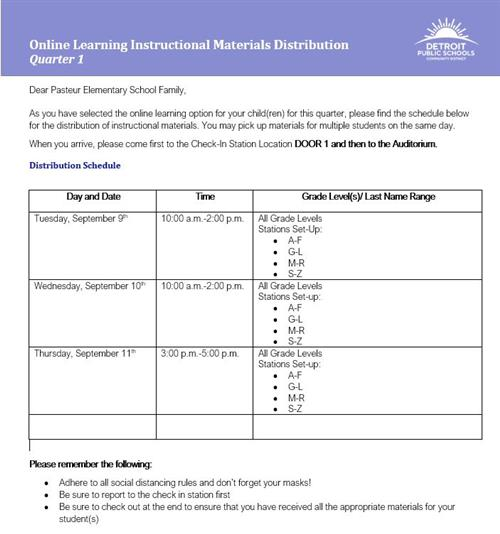 Online Learning Instructional Materials Distribution