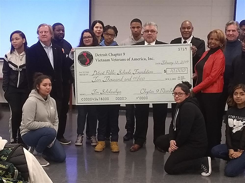 Vietnam Veterans of America present a $10,000 check to Randolph Career and Technical Center
