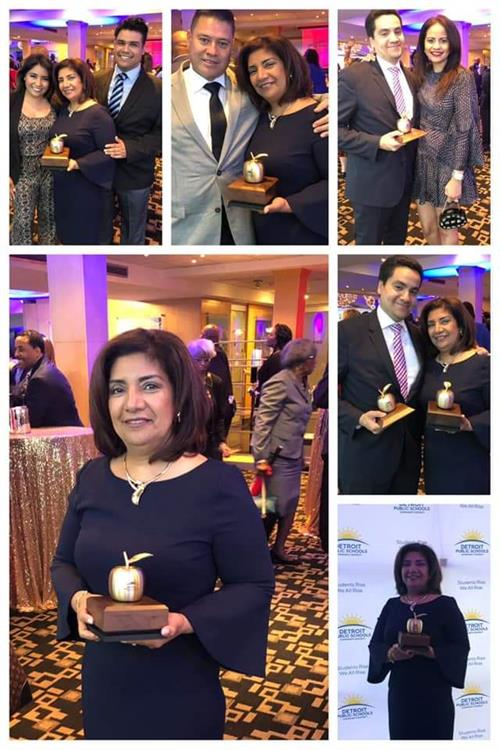 Picture collage of educator of year with family and coworkers holding the golden apple award