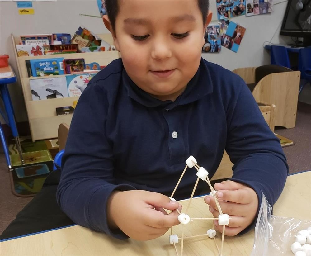 a boy using marshmallows and toothpicks to build a house