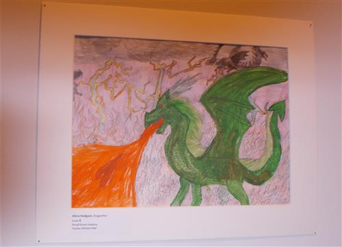Eighth grade student artwork on display at the Detroit Institute of Arts