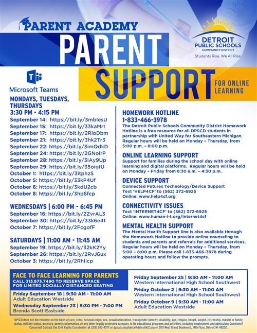Expansion of Parent Academy, Introduction of I.T Support Hotline, and  Continuation of Homework/ Mental Health Hotline