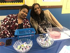 Ms. Mitchell and Mrs. Taylor happy to greet parents.