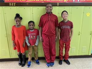 Mrs. Clark's students wear red.
