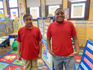 Ms. Poole-Caldwell's ESE students wear red