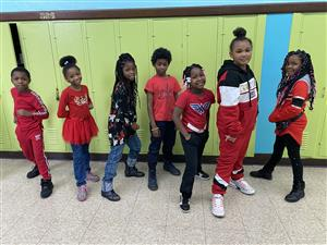 Mrs. Dingle's grade 2 students wear red