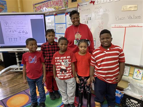 Ms. Perryman's first grade students show their support by wearing red