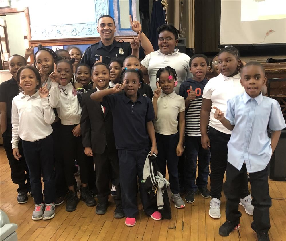 Assembly about gun violence at Thurgood Marshall Elementary-Middle School