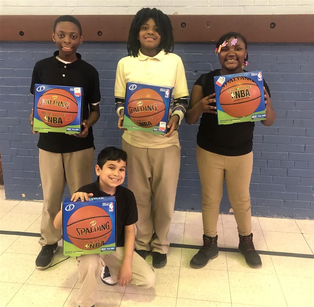 Students excited about the new basketballs