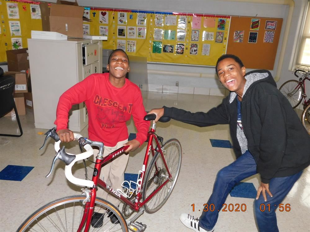 Turning Point Students Receiving Bikes from Free Bikes of Detroit