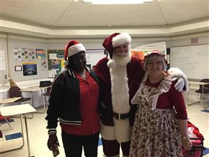 Butler and Santa and Mrs. Claus