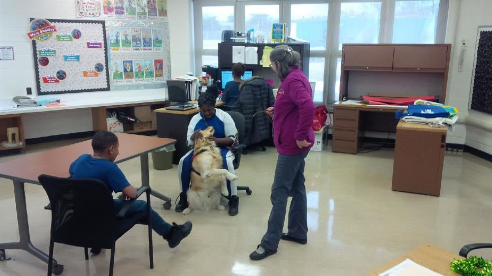 Romeo welcoming KJ the Therapy dog