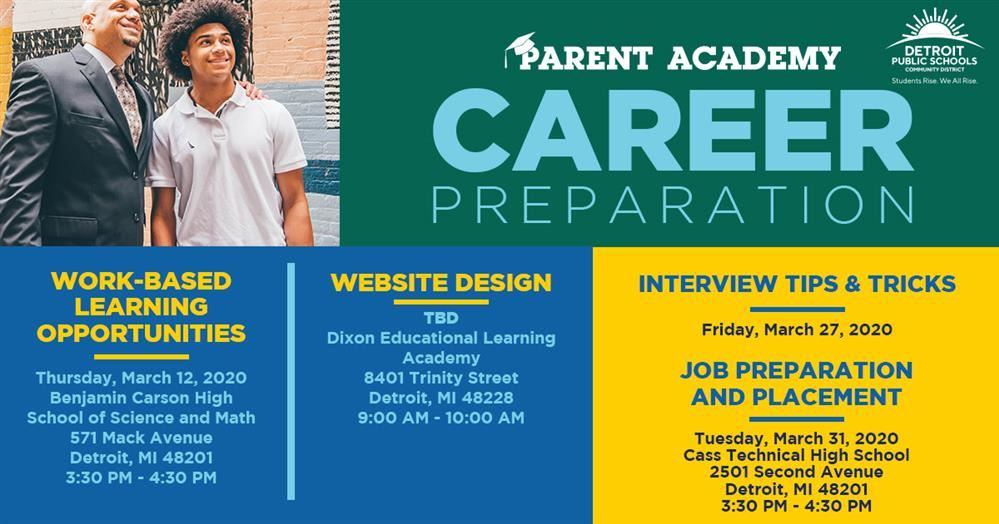 picture with list of Parent Academy classes and events