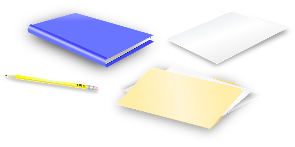 Picture of stationary resources, paper, pencil, and books