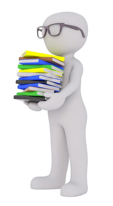 White 3D figure holding stack of books
