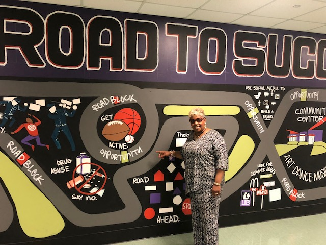 Picture of The Road to Success mural at Southeastern High School