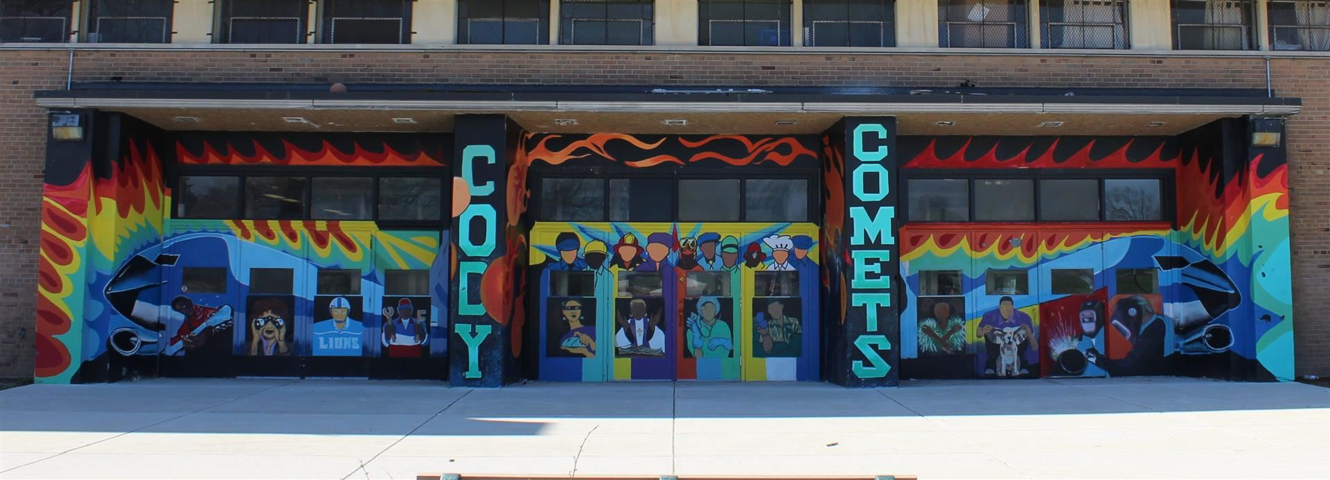 Cody Comets mural display