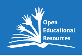 "An open book with hands coming out of it that says ""open educational resources"""