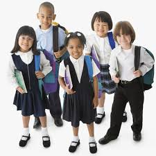 elementary students dressed in school uniforms