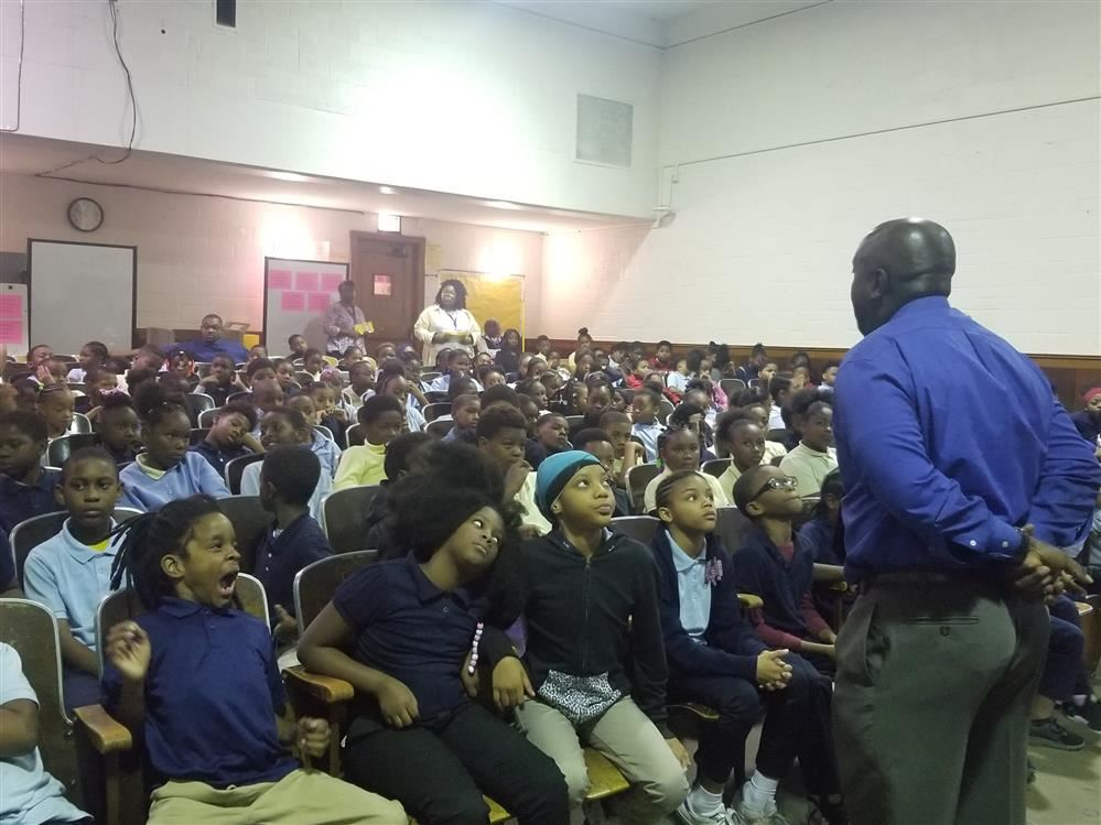 Dean Boyd talks to students about the DPSCD respect to respect campaign
