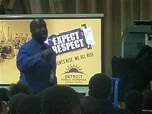 Dean Boyd talks to students about the Respect to Respect Campaign