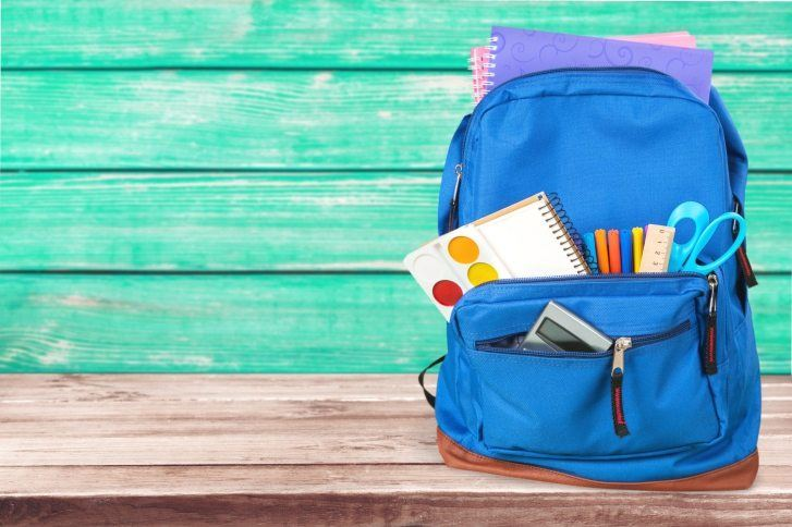 Backpack with school supplies.