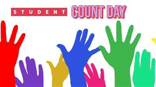 Student count day and pictures of colorful hands
