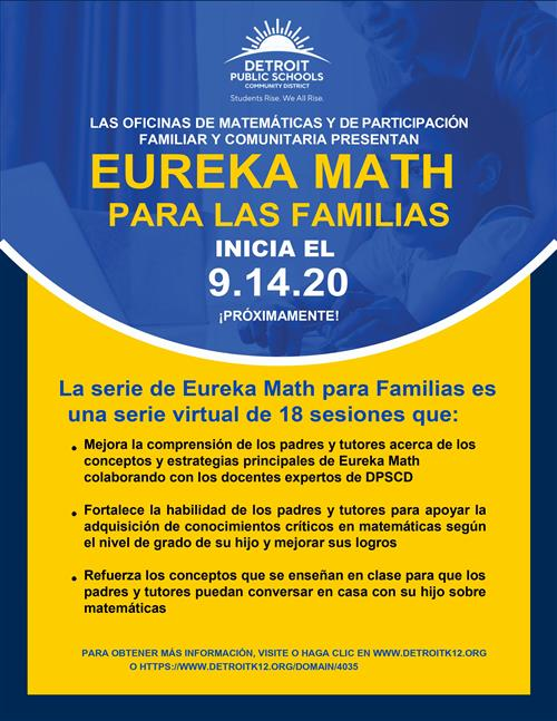 Info pager on eureka for families in Spanish
