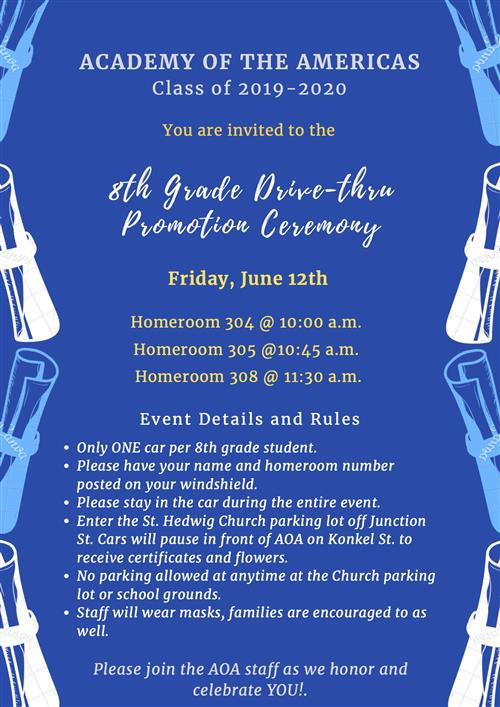 An invitation to the 8th grade ceremony