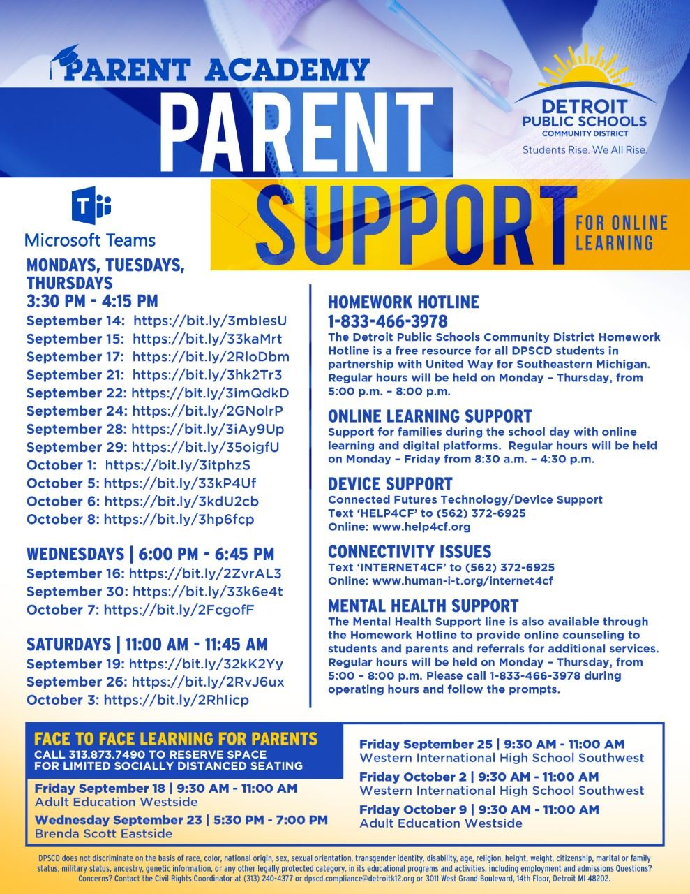flyer with information to help support parents through virtual learning.