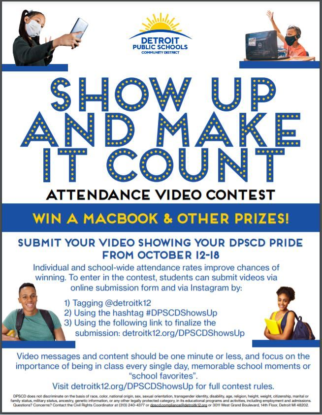 A flyer with the attendance contest information