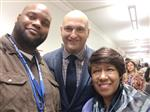 West Campus teachers Marva Fletcher and Christian Young pose with DPSCD Superintendent Dr. Nikolai Vitti.