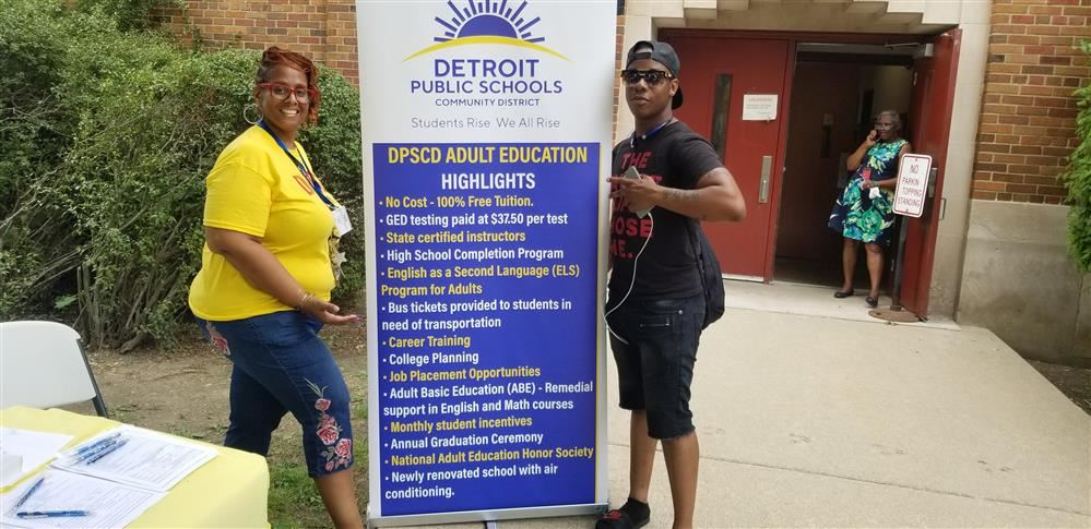 Adult Education West principal Dr. Dedria Willis with student Markeith Thomas-Petty on July 18.