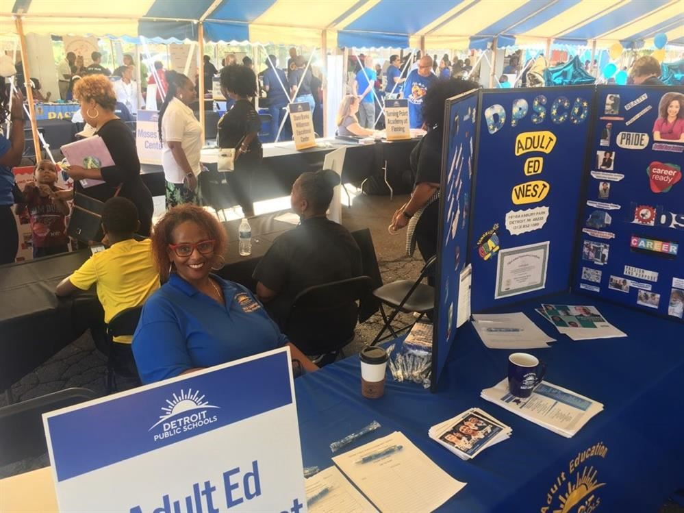 Adult Education West Campus principal Dr. Dedria Willis at the DPSCD Enrollment Expo on August 17.