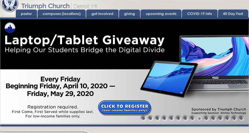 Triumph Church Announces Laptop Giveaway Every Friday