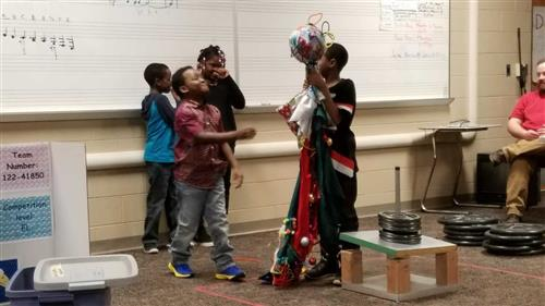 Third grade students participate in the Destination Imagination Monster Effects Challenge