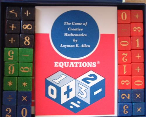 Equations box with cubes showing numbers and operations