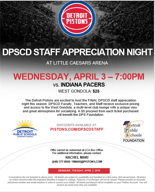 Flyer for Pistons Game