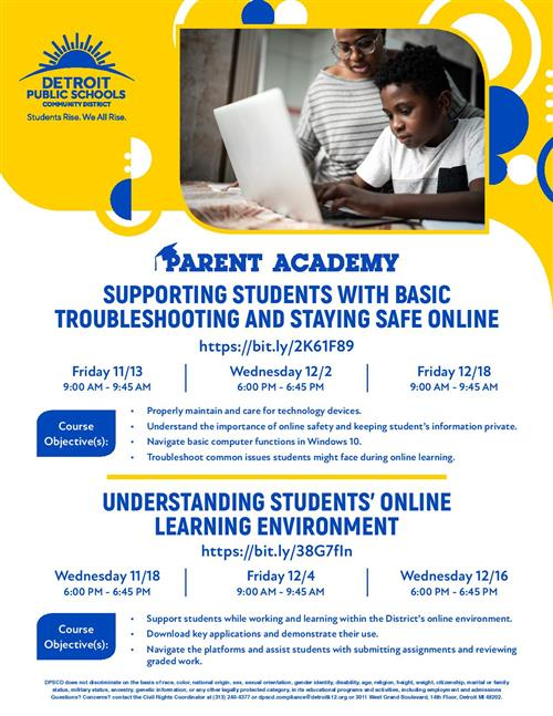 Learning at home flyer.